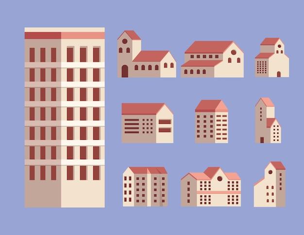 Ten city buildings set icons