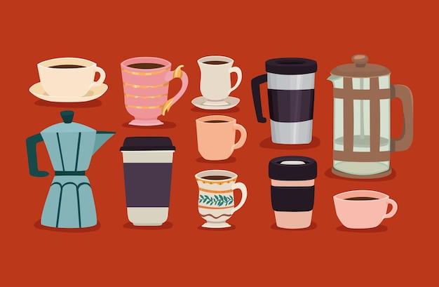 Ten coffee cups