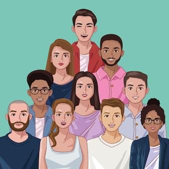 10명의 다양성 사람