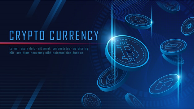 Ten famous cryptocurrency coins 3d flying background