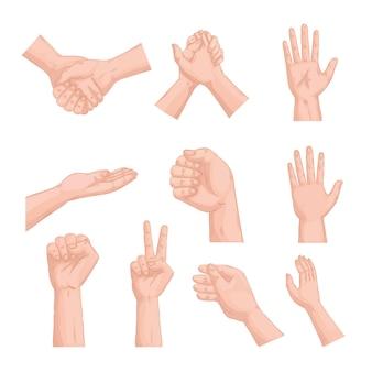 Ten hands humans set symbols icons design