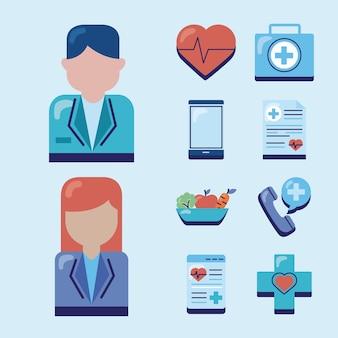 Десять значков набора приложений для здоровья