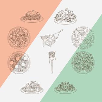 10 이탈리아 파스타 아이콘