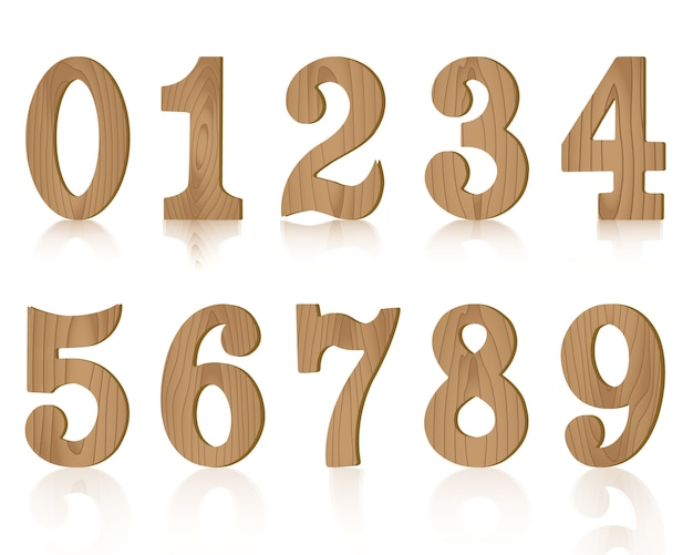 Десять цифр, деревянные от нуля до девяти