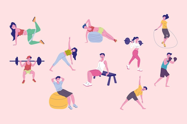 Ten persons fitness practicing sports