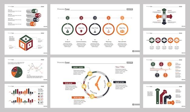 Ten planning chart slide templates set