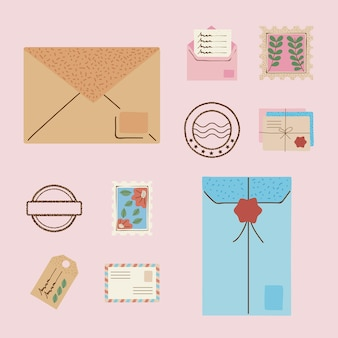 Ten postal service set icons