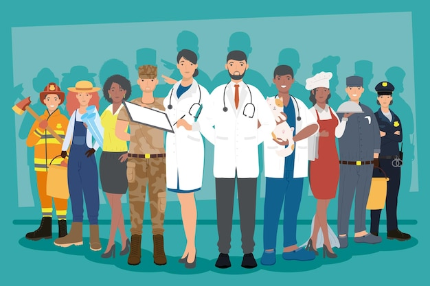 Ten professionals workers scene