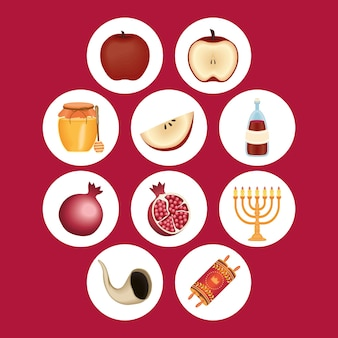 Ten rosh hashanah set icons