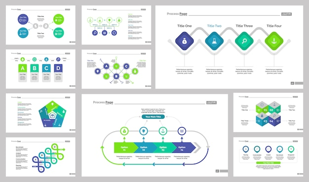 Set di modelli di diapositive di lavoro di gruppo