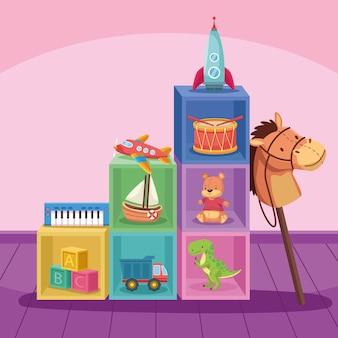 Ten toys in cubes