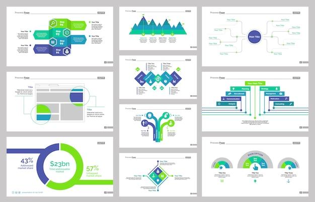 Ten workflow slide templates set
