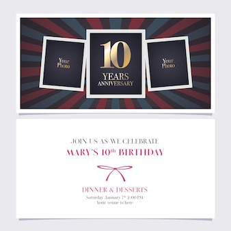 Ten years anniversary invitation  party celebration
