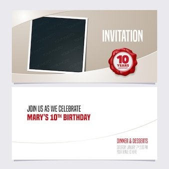 Ten years anniversary invitation template with photo frame collage