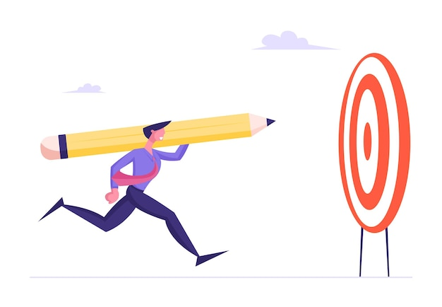 Tenacity in business strategy goal setting concept businessman throwing huge pencil to target