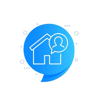 Tenant, resident line icon with a house
