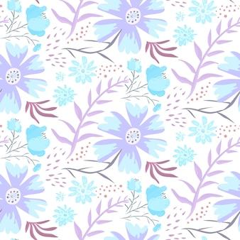 Нежный синий каракули цветочный узор