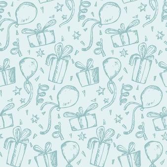 Нежный синий узор с эскизами подарков и воздушных шаров