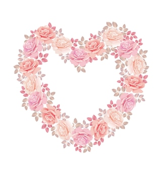 Tender color pink rose bouquet in heart shape.