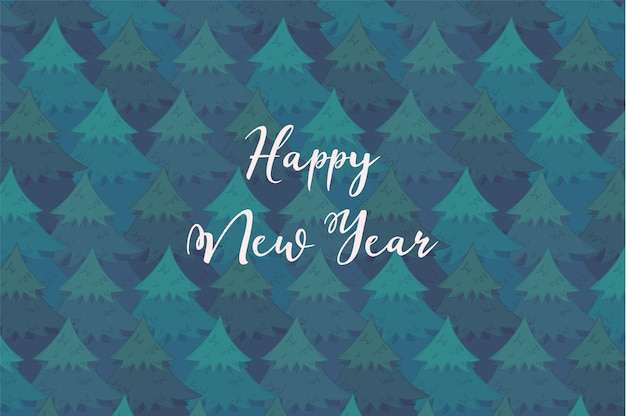 Tender horizontal background with blue overlapping coniferous trees and white happy new year text.