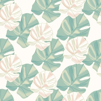 Tender isolated seamless pattern with monstera leaf ornament. green and pink colored foliage on white background.