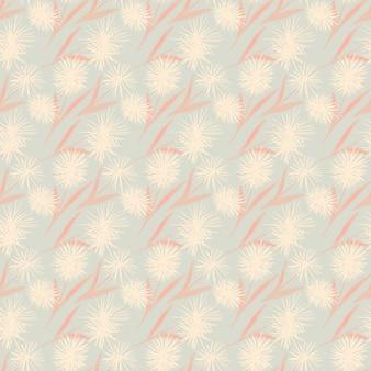 タンポポの花と柔らかい光のシームレスなパターン。ピンクとブルーのパステルトーンで様式化されたフローラルプリント。ラッピング、テキスタイル、ファブリックプリント、壁紙用。 。