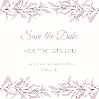 Tender pink watercolor save the date card