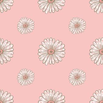 白い輪郭のヒマワリの要素が印刷された柔らかいシームレスパターン。パステルピンクの背景。季節のテキスタイルプリント、ファブリック、バナー、背景、壁紙のベクトルイラスト。