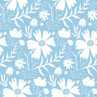 Tender white floral pattern on blue background