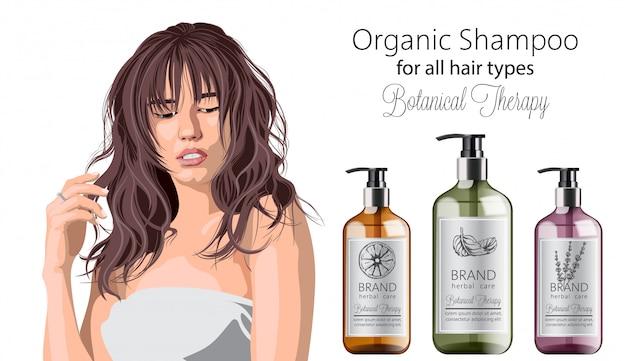 Нежная женщина с челкой рекламирует органический шампунь с лечебными травами. различные растения и цвета. мята, апельсин и лаванда