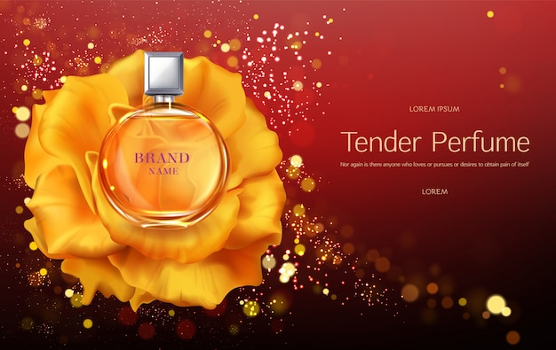 Tender womens perfume 3d realistic vector advertising banner or poster template.