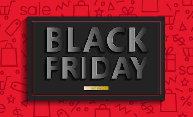 Tendy horizontal banner for sales on black friday. black friday 3d text. vector banner for shop, web, store, business and other. vector eps 10