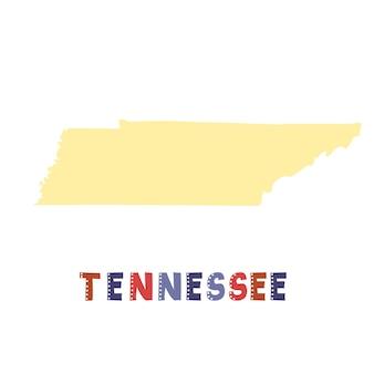 テネシー州の地図が分離されました。 usaコレクション。テネシーの地図-黄色のシルエット。白の落書きスタイルのレタリング