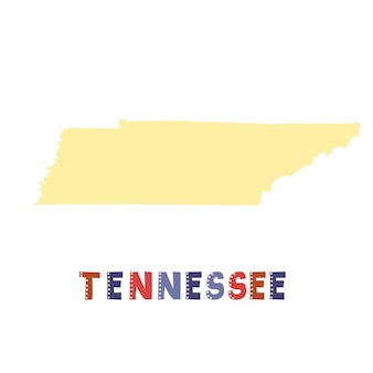 Tennessee map isolated. usa collection. map of tennessee - yellow silhouette. doodling style lettering on white