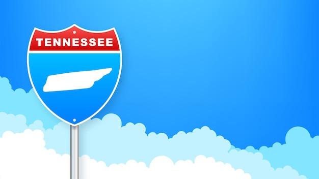 도 표지판에 테네시 지도입니다. 테네시 주에 오신 것을 환영합니다. 벡터 일러스트 레이 션.