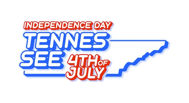 Tennessee state 4th of july independence day with map and usa national color 3d shape of us