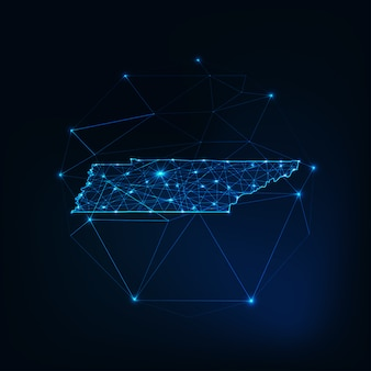 Tennessee state usa map glowing silhouette made of stars lines dots triangles, low polygonal shapes.