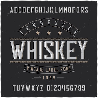 Tennessee whiskey label typeface