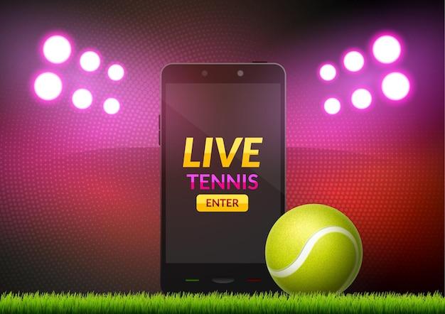 스마트 폰에 테니스 앱 게임 컨셉