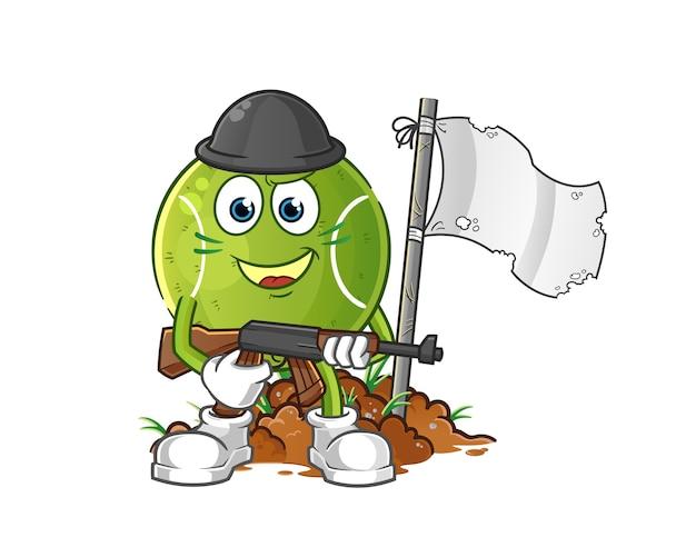 Теннисный армейский персонаж. мультфильм талисман