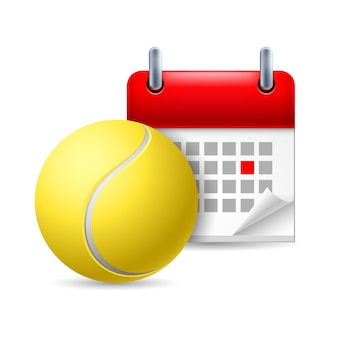 マークされた日が付いているテニスボールおよびカレンダー。スポーツイベント