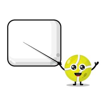 Tennis ball becomes a teacher cute character mascot