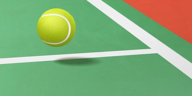 Pallina da tennis che vola sotto il vettore realistico di corte