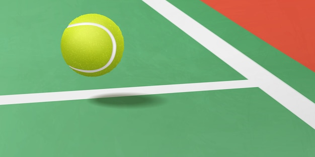 裁判所の現実的なベクトルの下で飛んでいるテニスボール