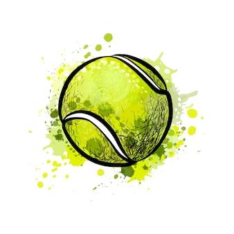 水彩のスプラッシュからテニスボール、手描きのスケッチ。塗料のイラスト