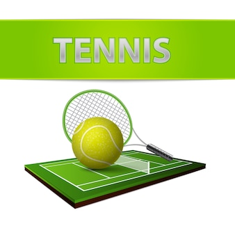 Emblema del campo di erba verde e della pallina da tennis