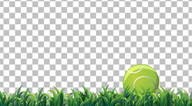 透明な背景の芝生のフィールドにテニスボール