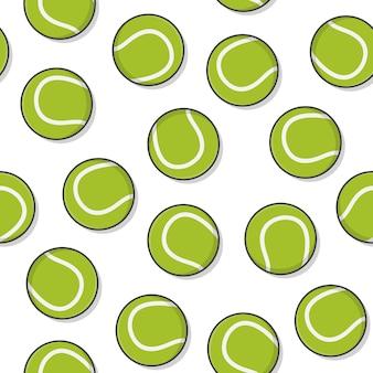 흰색 배경에 테니스 공 원활한 패턴입니다. 테니스 아이콘 벡터 일러스트 레이 션