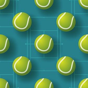 テニスボールシームレスペターンイラスト