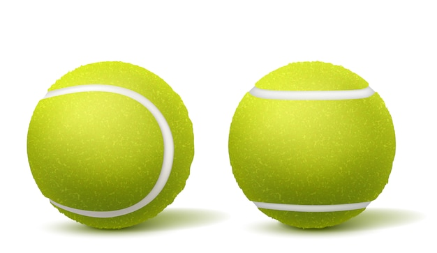 Tennis ball top, side view realistic vector